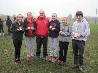Successful medallists and their coach: Megan Nicod, Ellen Bowen, Vince Rollason (coach) Alice Battey, Amy Mijovic-Couldwell, Conor Smith