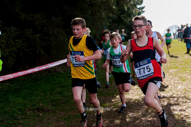 Alex Roberts (left) in the Under 13 boys race