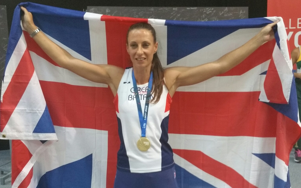 Joanne Frost celebrates victory at the World Masters Athletics Championships