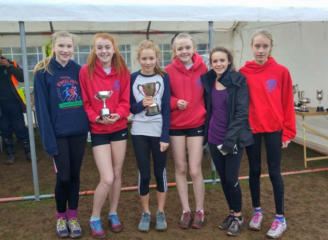 U15 girls A and B teams from left to right: Ellie Moss, Ellen Bowen with the individual trophy, Amy Mijovic-Couldwell with the team trophy, Alice Battey, Anna Nicod and Beth Sykes